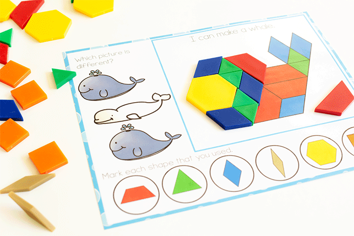 Whale pattern block fine motor printable for preschool kids