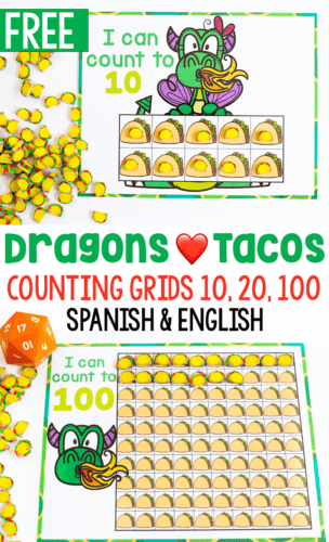 Dragons love tacos counting activity for preschool math centers. Count to 10, count to 20 and count to 100 in English and Spanish.