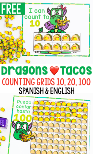 Free printable preschool counting activity for the book Dragons Love Tacos. Count to 10, 20 and 100 in Spanish and English