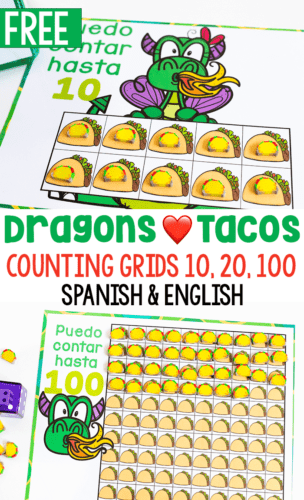 Preschool taco counting activity. Printable counting grids for taco mini erasers in Spanish and English