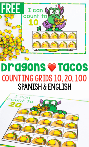 Mini eraser counting activity for preschoolers. Free printable counting mats for preschool