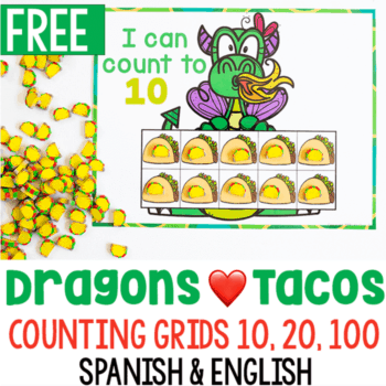 Free printable preschool counting grids to use with taco mini erasers.