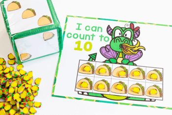 aCount to 10 with taco mini erasers math activities for preschool when reading Dragons Love Tacos book
