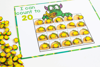 I can count to 20 I can statement for preschoolers with counting to 20 printable activity for taco mini erasers