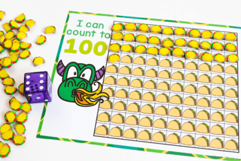 Taco mini erasers are used for counting to 100 in this taco theme preschool math activity with free printable counting grids