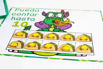 Puedo contar hasta 10 Preschool counting activity to pair with Dragons Love Tacos book for a math and literacy activity in preschool.