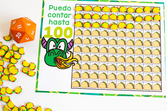 Puedo contar hasta 100 with this hundred chart for taco mini erasers to use in preschool math centers.