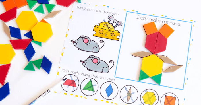 Preschool Pattern block mat with picture of mouse made of pattern blocks. Choose which picture of a mouse does not match. Identify shapes within the animal picture
