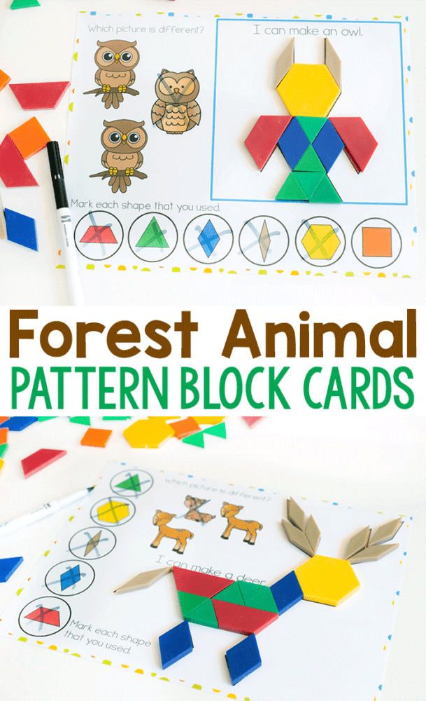 Forest animal pattern block activity for preschool. Build a deer and owl with pattern blocks. Identify which images do not match and identify shapes within the pattern block pictures.