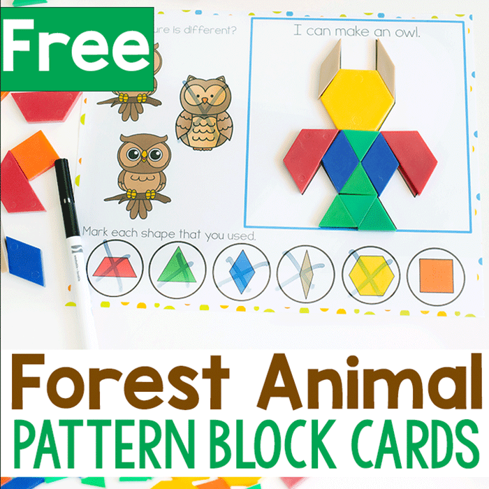 Forest animal pattern block mat for preschoolers with pattern block owl. Text states: Free Forest Animal Pattern block cards.