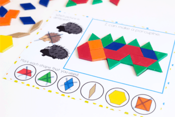 Free forest animal pattern block activity build a hedgehog out of pattern blocks