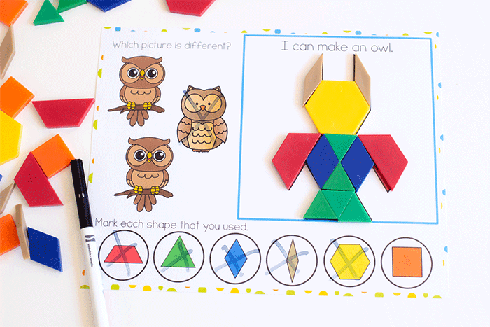 Build an owl with pattern blocks on free printable forest animal pattern block mats for preschool.