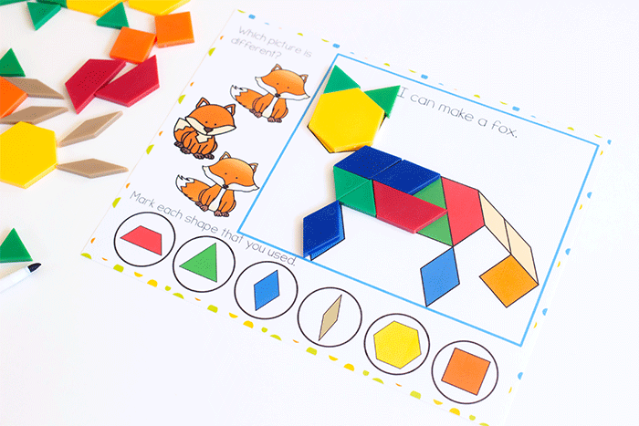 Build a fox with pattern blocks in a free printable forest animal pattern block activity for preschoolers. Identify matching pictures and shapes that match the pattern block picture.