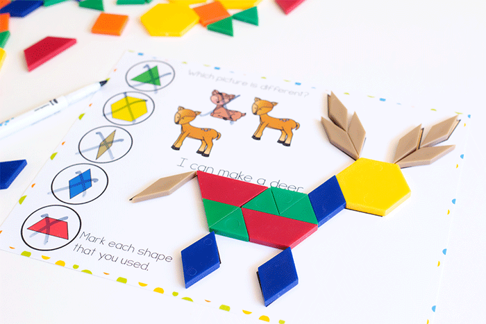 Preschool pattern block activity for forest animal theme. Pattern block mat with a deer for preschoolers to build. Find the deer that does not match.