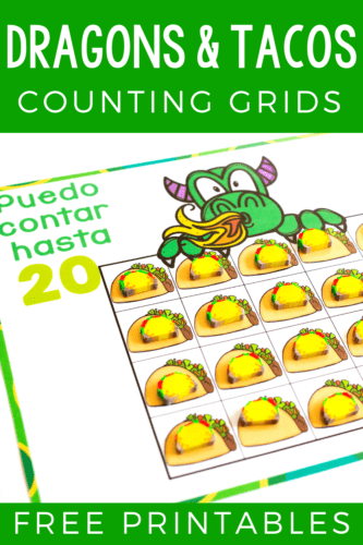 "Free printable counting grids that go perfectly with the children's book ""Dragons Love Tacos"". Count to 10, 20 and 100 with taco mini erasers and a fun dragon theme."