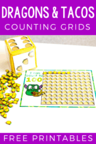 "Kids love ""Dragons Love Tacos"" and this free printable set of taco mini eraser counting activities is a perfect preschool math activity. Count to 10. 20 and 100 in English and Spanish with these counting grids."