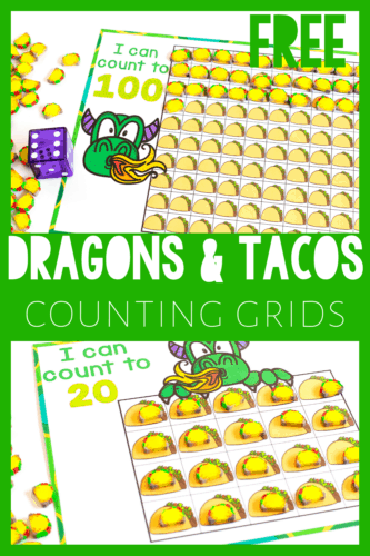 """Free Printable Taco mini eraser counting game to go with """"Dragons Love Tacos"""". This taco mini eraser counting set is perfect for preschool math activities."""