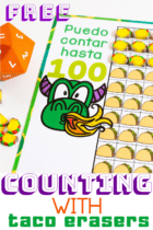 "Free Printable Taco mini eraser counting game to go with ""Dragons Love Tacos"". This taco mini eraser counting set is perfect for preschool math activities."