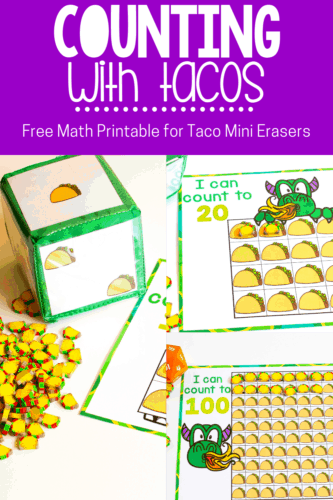 """Kids love """"Dragons Love Tacos"""" and this free printable set of taco mini eraser counting activities is a perfect preschool math activity. Count to 10. 20 and 100 in English and Spanish with these counting grids."""