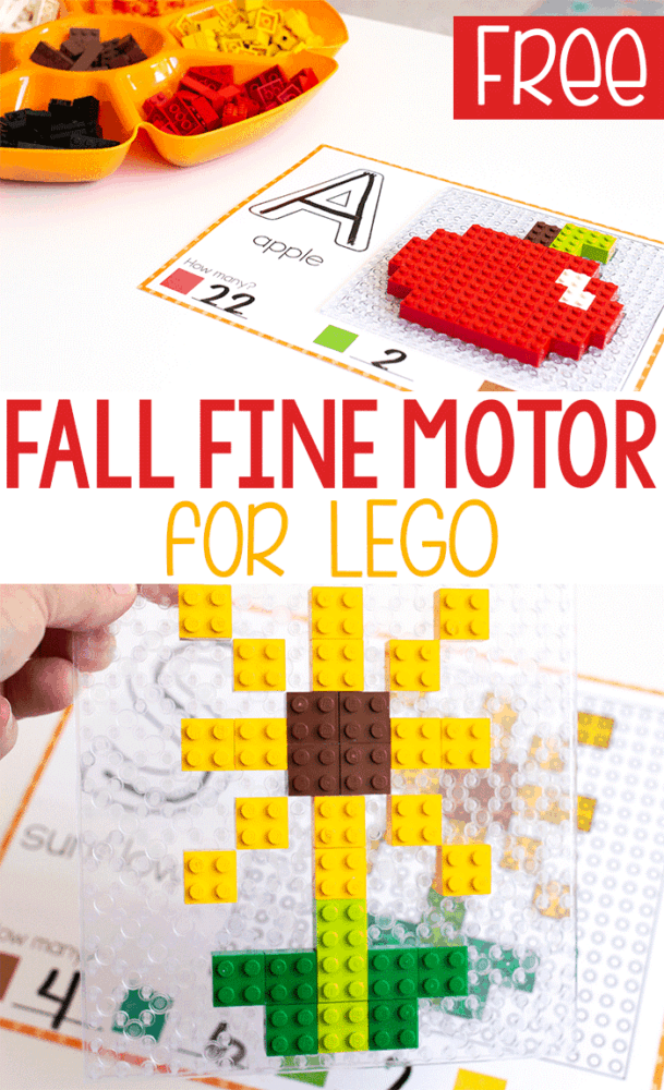 Free printable fall fine motor mats for LEGO with a picture of a LEGO apple and sunflower with beginning sounds and LEGO counting.
