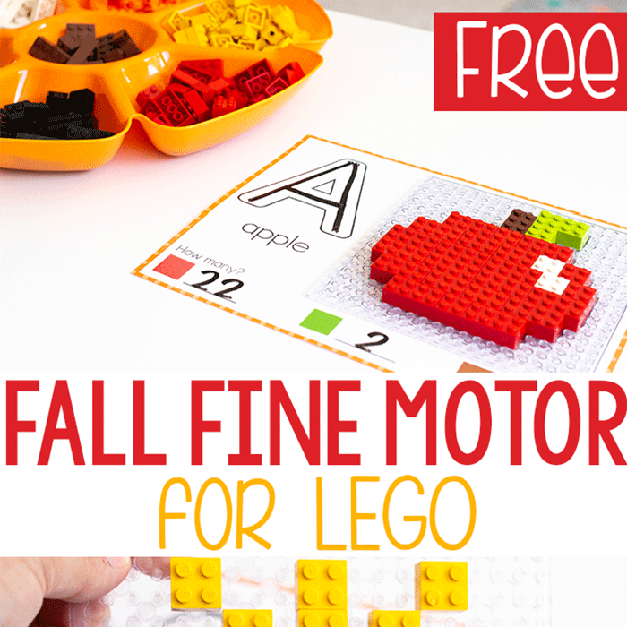 Free printable fall fine motor mats for LEGO with a picture of a LEGO apple with beginning sounds and LEGO counting.