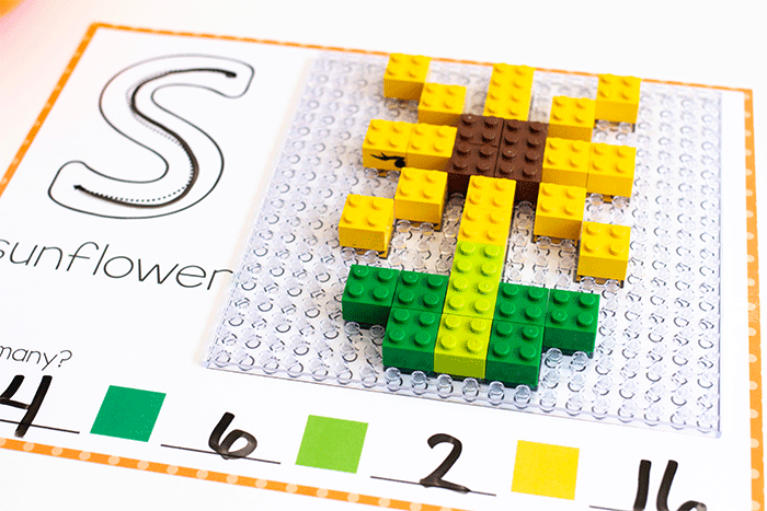 Sunflower fine motor mat for LEGO preschool fine motor activity