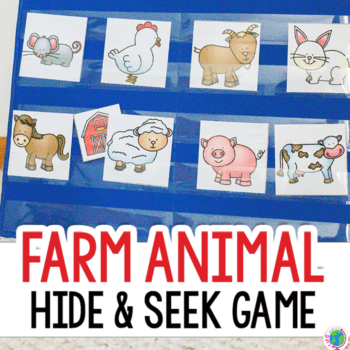 Free printable farm animal hide and seek game for a preschool pocket chart. Farm animal activity for preschoolers and toddlers.