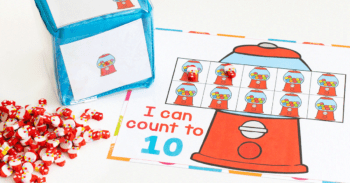Free printable bubblegum counting grids for preschool counting activity. I can count to 10. I can count to 20 with grids of bubblegum machines to count mini erasers.