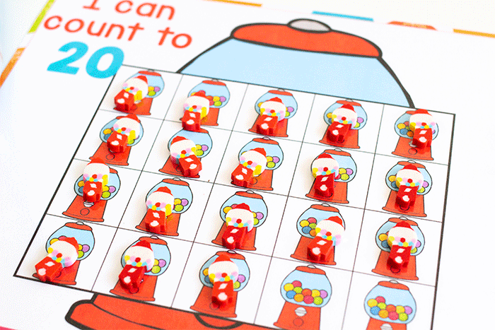 Free printable bubblegum counting grids for preschool counting activity. I can count to 20 with grids of bubblegum machines to count mini erasers.