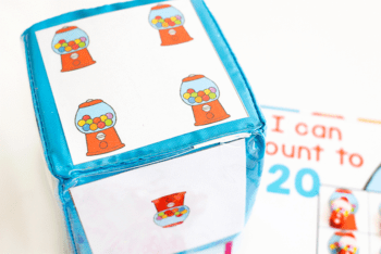 Differentiated instruction cube with bubblegum inserts to create a dice for bubblegum mini eraser counting grids for preschool.