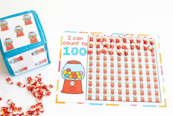 Free printable bubblegum counting grid/hundred chart for preschool counting activity. I can count to 100 with grids of bubblegum machines to count mini erasers.
