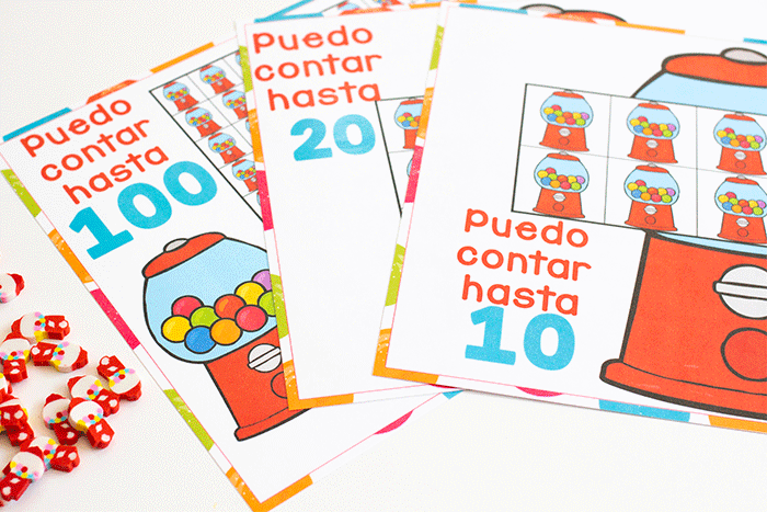 Free printable Spanish bubblegum counting grids for preschool counting activity. I can count to 10. I can count to 20 with grids of bubblegum machines to count mini erasers.