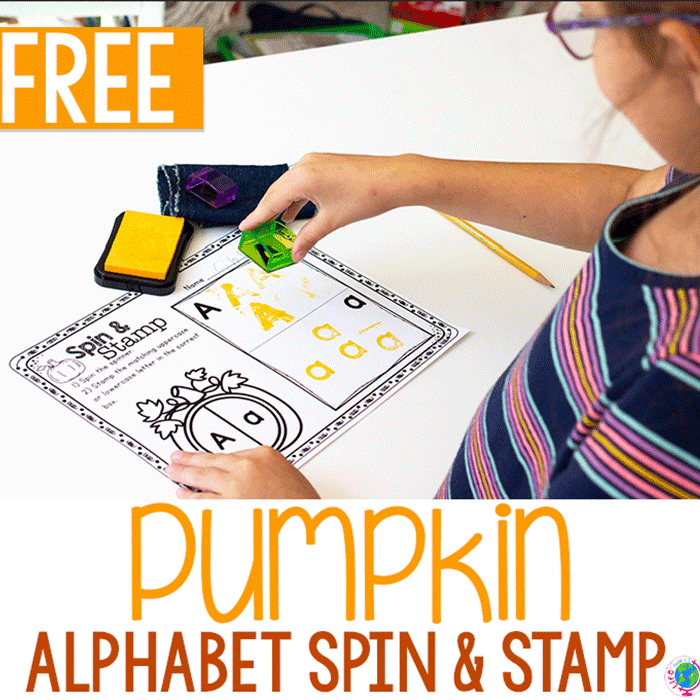 Free printable pumpkin alphabet stamping activity for preschoolers to learn uppercase and lowercase letters. Pumpkin spinner with uppercase and lowercase letter a. Stamp the uppercase and lowercase a