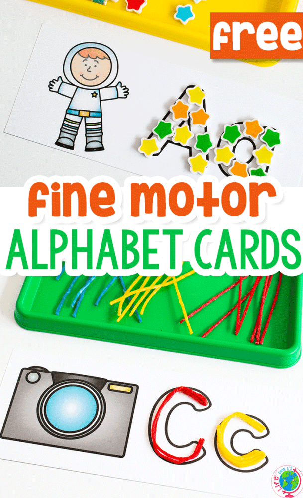 free printable fine motor alphabet activity for preschoolers. Fill in the alphabet card using mini erasers, wikki stix, dry erase markers and more.