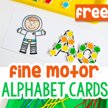 alphabet fine motor activity for preschoolers. Fill the alphabet card with a picture of an astronaut and the letter 'a' with mini erasers