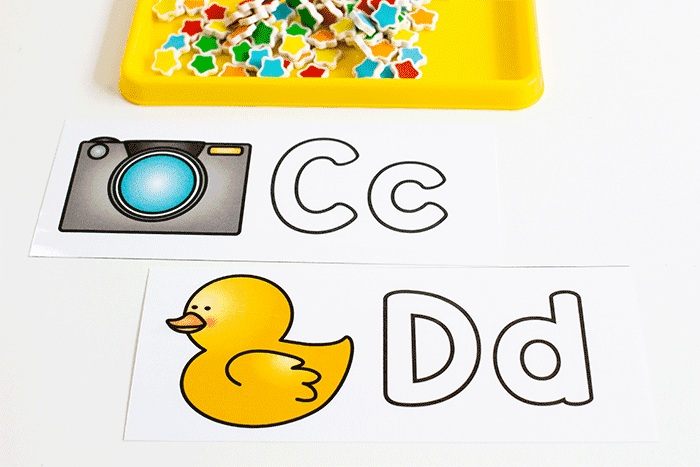 Free printable alphabet outlines for beginning sounds and fine motor skills.