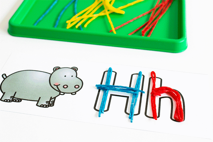 Wikki Stix alphabet cards for preschoolers. Alphabet fine motor activity for pre-k