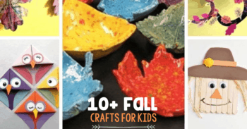 10+ Fall Crafts for Kids: Upper left and clockwise: pom pom fox craft, apple paper crafts, leaf wind catchers, toilet paper roll scarecrow, leaf pottery dish, owl bookmarks, and leaf garland
