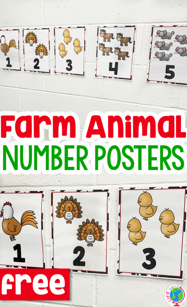 Free Farm Animal Number Posters For Preschool -