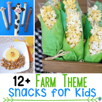 Farm themed snacks for preschool farm theme activities. Pretzel farm animals, pineapple chicken and popcorn corn treats