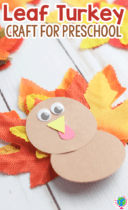 Create a Thanksgiving turkey craft for preschoolers with some fall leaves and a few construction paper circles.