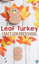 Fall leaf turkeys made with construction paper and fakes fall leaf craft for preschoolers