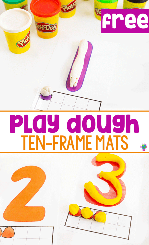 Free printable play dough number mats with ten-frames, Fill in the ten-frame with play dough and create numbers with play dough