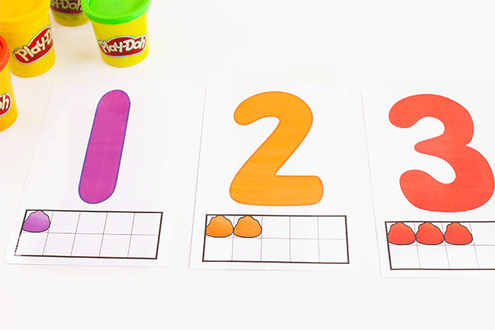 Numbers 1, 2 3 from a set of numbers 1-10 play dough mats for preschool math centers and counting activity