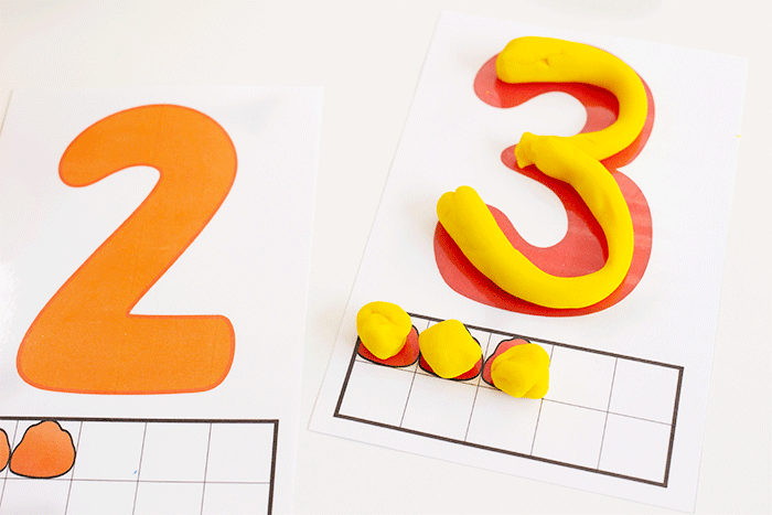 Numbers 2 and 3 on play dough mats for preschool counting activity