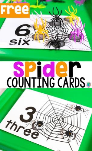Free printable spider counting cards for numbers 1-10. Use with spider rings or spider mini erasers for counting