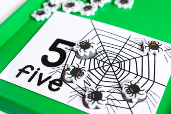 Free printable spider mini eraser counting cards for numbers 1-10