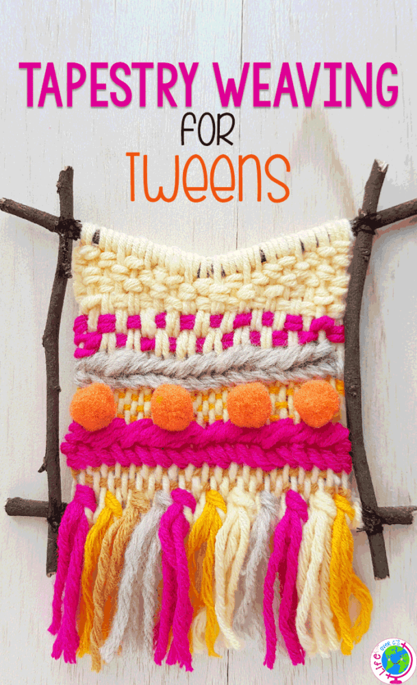 Tapestry weaving project with cream, bright pink, orange and taupe yarns. Perfect weaving project for Tweens.