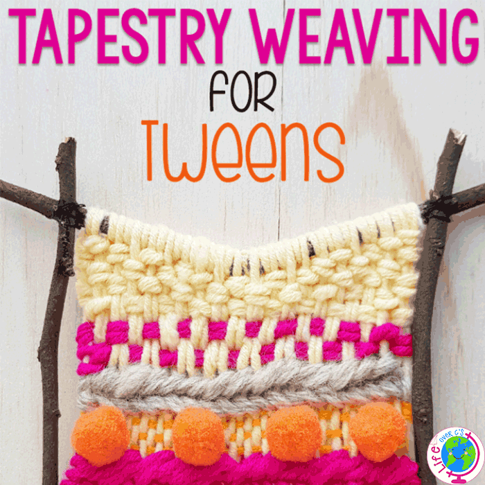 Easy tapestry weaving for tweens or pre-teens. Create a beautiful wall hanging with a simple weaving project.