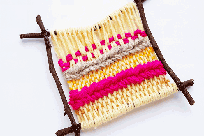 Use yarn that you have on hand to create a simple and easy weaving craft for kids. Build a loom with sticks for a cheap craft for kids.